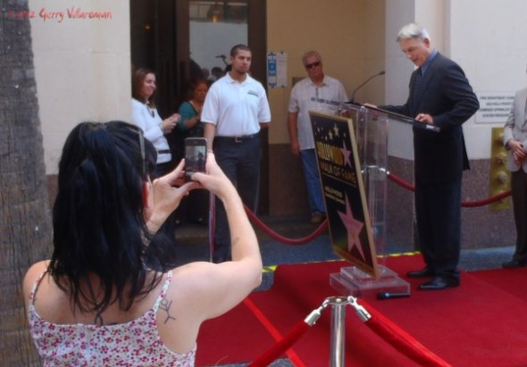 Pauley Perrette Taking a Photo of Mark Harmon